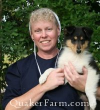 Quaker Anne holding a Crown Thistle Collie at Quaker Farm